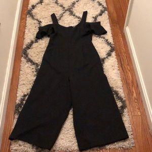 Black cold shoulder flutter sleeved jump suit